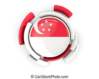 Round flag of singapore with color pattern isolated on...