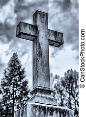 Christian symbol - cross on cemetery