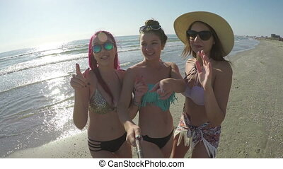 Female friends partying and taking selfie on beach