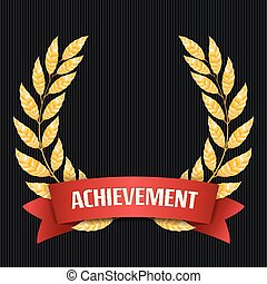 Gold Laurel Vector. Set Shine Wreath Award Design. Red Ribbon. Place For Text