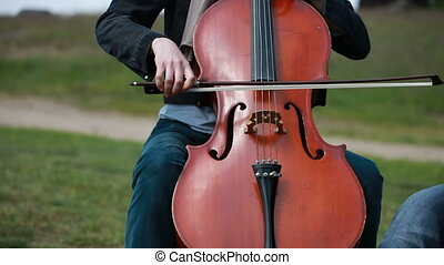 Woman playing cello - Woman plays on the cello on private...