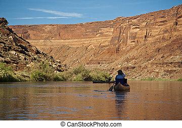 Canoe on a desert river
