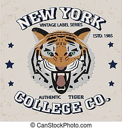 New york city typography, t-shirt graphics tiger authentic...