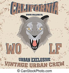 Los angeles California typography wolf, t-shirt graphics -...