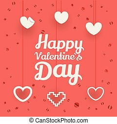 Valentines greeting card. Different shiny vector hearts illustration. Happy