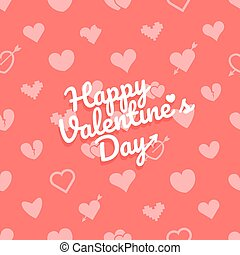Different abstract hearts pattern with logo. Valentines greeting card