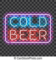 Glowing neon bar sign COLD BEER