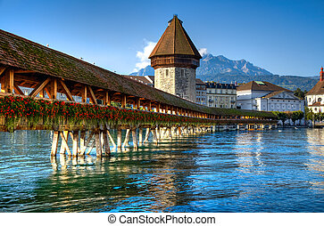 Wooden bridge in Lucerne