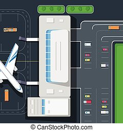 Parking at the Airport. Emplanement. Car space - Airplane,...