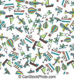 Colorful Ships and Aircrafts Transports Seamless Pattern...