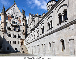 Neuschwanstein castle in Germany Wide angle view