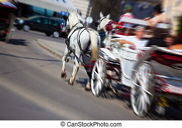 Horse with coach on city street