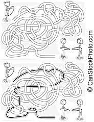 Hula hoop maze for kids with a solution in black and white