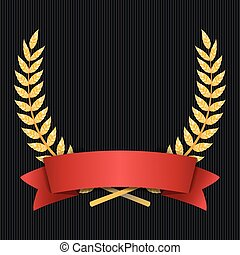 Gold Laurel Vector. Shine Wreath Award Design. Red Ribbon. Place For Text