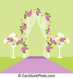 Wedding Arc Door with Flowers. Romantic Element - Wedding...