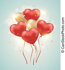 Heart balloons on a green background.
