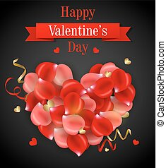 Decorative heart of rose petals on a black background....