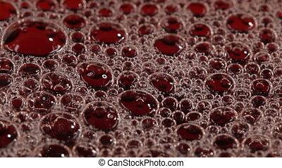Foam in the cherry juice - Foam bubbles with fresh cherry...