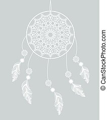 Vector dreamcatcher with feathers on a gray background
