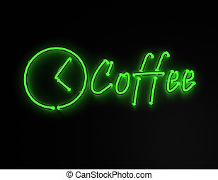Coffee green neon sign isolated on black