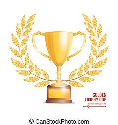 Golden Trophy Cup With Laurel Wreath. Award Design. Winner...