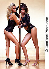 Young sexy women - Two young sexy pole dance women.