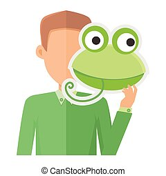 Man Without Face with Frog Mask Isolated on White. - Man...
