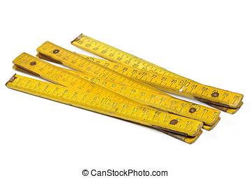 yardstick - vintage 1 meter yardstick isolated on white...