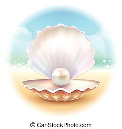 Realistic Shell Round Composition - Realistic shell pearl on...