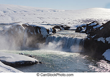 Godafoss, Iceland waterfall natural landscape in winter...