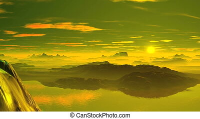 Fairytale Sunrise - Mountains, hills and lakes covered with...