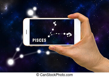 Augmented Reality, AR, of Pisces Zodiac Constellation App on...