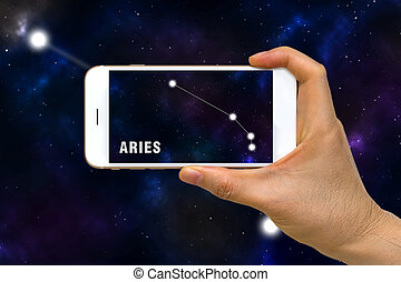 Augmented Reality, AR, of Aries Zodiac Constellation App on...
