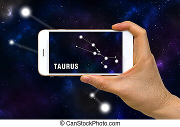 Augmented Reality, AR, of Taurus Zodiac Constellation App on...