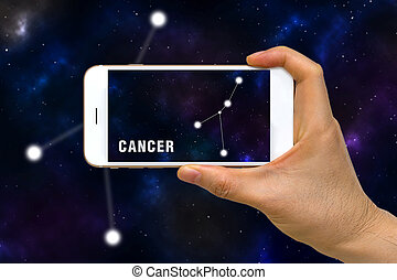 Augmented Reality, AR, of Cancer Zodiac Constellation App on...