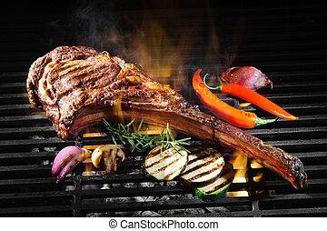 Tomahawk rib beef steak on grill - Tomahawk rib beef steak...