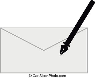Pen and letter on white background