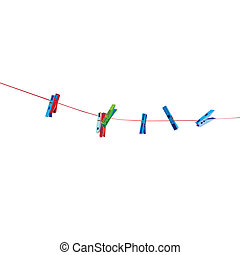 clothespins - Clothespins on wire illustration isolated on...