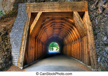 Onita Gorge Tunnel located on the oregon side of the...