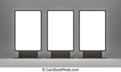 Vertical blank outdoor Lightboxes. Gray studio gradient...