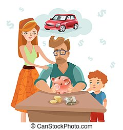 Family Budget Finance Plan Flat Poster - Home budget...