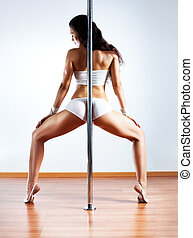 Young sexy woman - Young sexy pole dance woman