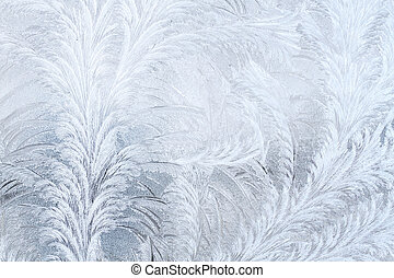 Frosty patterns on the window.