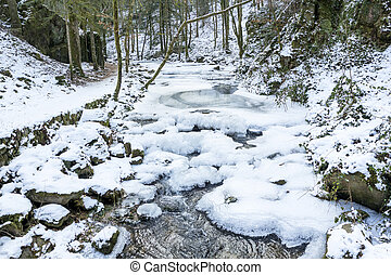 The mountain river in canyon in Baden-Baden. Europe, Germany...