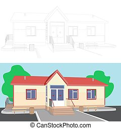 3d image of house with porch
