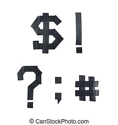 Set of punctuation marks and symbols made of insulating...