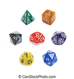 Set of roleplaying dices isolated - Set of multiple colorful...
