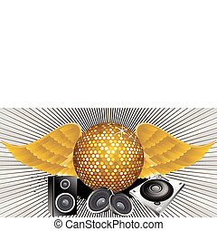 abstract music theme with disco ball vector illustration