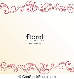 beautiful red floral border on white background