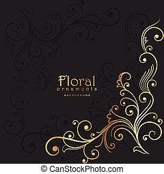 dark background with golden floral element
